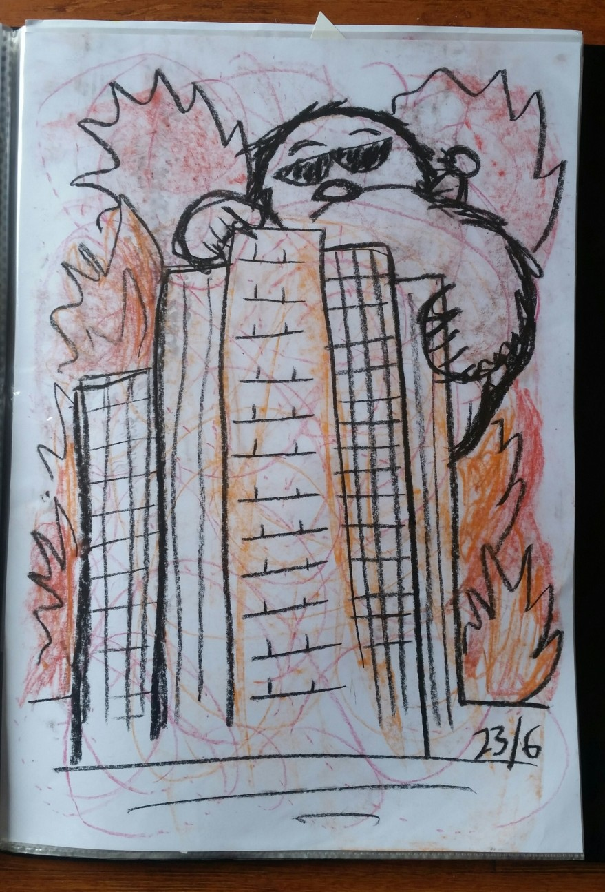 burning buildings, heart insight art, heART